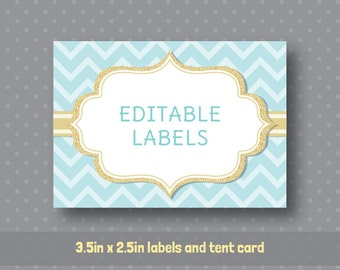 Editable PDF Printable - Mint Aqua Chevron and Gold - Label / Sticker / Tent Card / Tags / Place Card - DIY