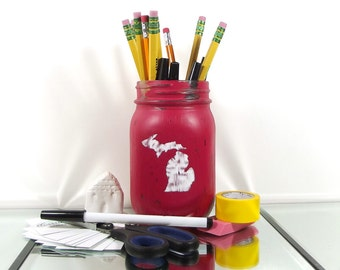 Michigan Decor, Cute Office Decor, Painted Mason Jar, Pencil Holder, Office Decorations, Pen Cup, State Pride, Distressed Mason Jar