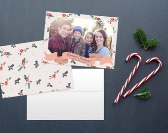 Christmas card set, double sided christmas card, photo card, photo christmas card, holiday cards, red and green, custom christmas card