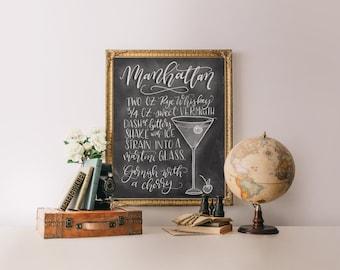 Cocktail art print, Cocktail recipe canvas, Bar cart decor, Bar print, Chalkboard art print, Chalkboard canvas, Drink recipe art, giclee art