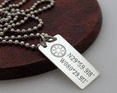 Compass Necklace - Latitude Longitude Necklace - Personalized Mens Necklace - Nautical Pendant. GPS coordinates Necklace - Mens Personalized
