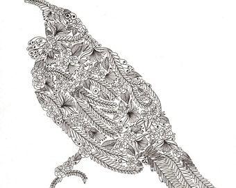 "Tui Bird Patterned Art Print 8""x10"""