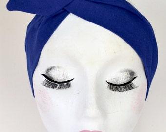 Rockabilly Pin Up Royal Blue Dolly Bow Wire Headband