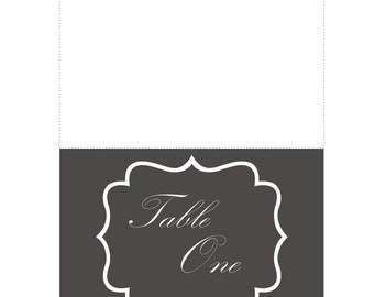 Printable Folding Card Table Numbers (1-30), Grey Background, White Font