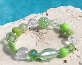 Spring green stone and crystal bracelet, bright green bracelet, light green bracelet, green crystal bracelet, spring green bracelet