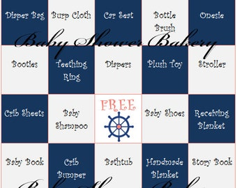 Coral and Navy Nautical Baby Shower Game, Nautical Theme Baby Shower Bingo, Printable Nautical Baby Shower Game in Navy and Coral Theme