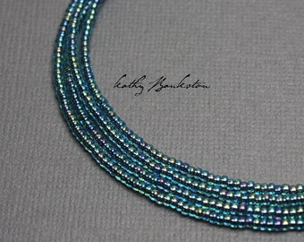Blue Seed Bead Necklace, Blue Single Strand Seed Bead Necklace, Shiny Blue Necklace, Long Blue Necklace, Blue Necklace, Kathy Bankston