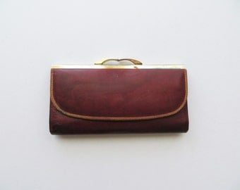 70s Tilley Leather Wallet Bifold Kisslock Checkbook Maroon with Brown Trim