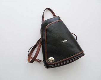 90s Cuoieria Fiorentina Backpack Italian Black Leather Travel Pack
