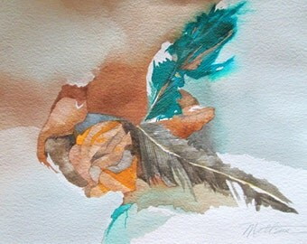 """Feather Song Series   """" Convergent Elements""""  One of a Kind Original Watercolor"""