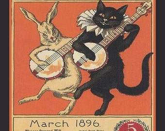Black Cat Fridge Magnet cat with banjo vintage magazine cover image, rabbit