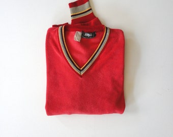 I.MAGNIN Terrycloth V-Neck Sweater. Sz M. Itay.