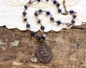 Midnight Buddha Necklace - buddha pendant protection amulet blue cloisonné necklace
