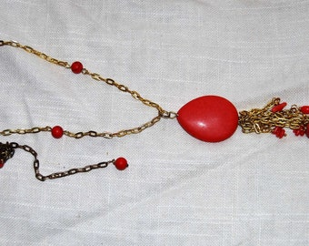 Red Pendant Long Statement Necklace