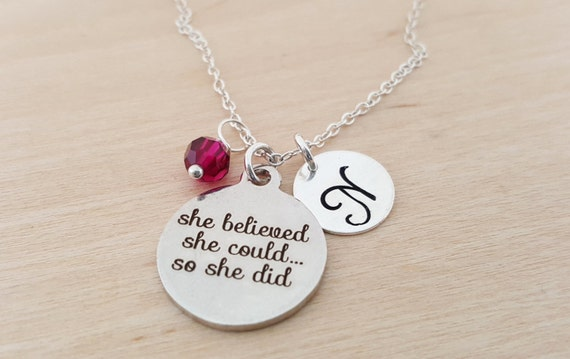 She Believed She Could So She Did Personalized Necklace