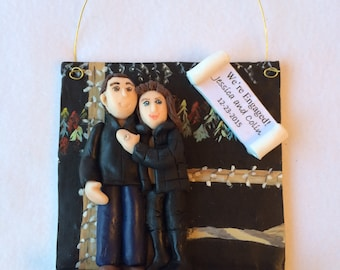DEPOSIT ONLY!  Custom Polymer Clay Engagement Ornament, Couple Ornament, Family Ornament