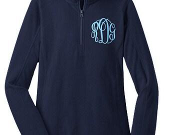NEW-Ladies Navy MONOGRAMMED 1/2 zip Micro fleece Pullover