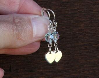 Lotus earrings lotus petal earrings blue swarovski earrings sterling silver blue earrings blue crystal earrings crystal bead earrings