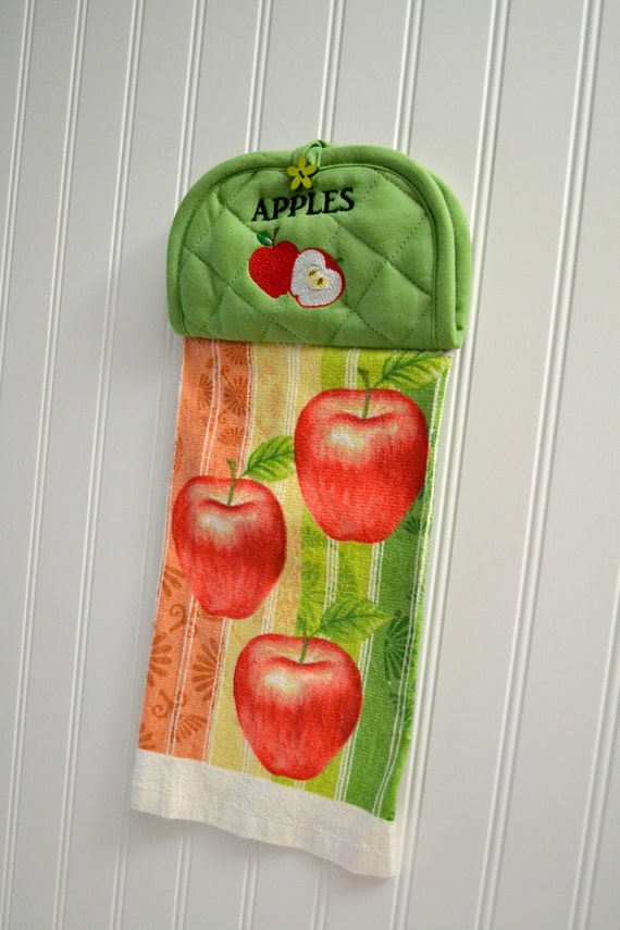 Kitchen hand towel embroidered apple apple kitchen decor for Apples decoration for kitchen