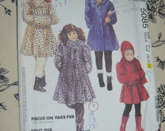 McCalls 5085 CHildrens and Girls Lined  Coat in two lengths hooded scarf and Muff Sewing Pattern - Size 10 12 14   - UNCUT