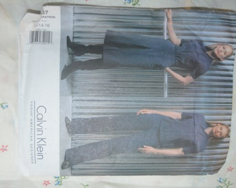 Vogue 2587 Calvin Klein Misses Jacket Culottes  and Pants Sewing Pattern - UNCUT - Size 12 14 16