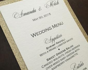 Gold Glitter Menu / Glitter Wedding Menu / Wedding Menus / Dinner Menus