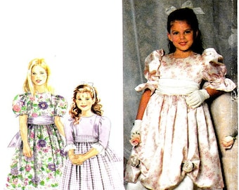 Girls Full Skirt Dress Overskirt Pattern Size 3 4 5 6 Sash Special Occasion Formal Simplicity 7466 Sewing Pattern Uncut Factory Folds