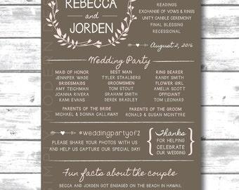 rustic wedding ceremony program,  modern, PRINTABLE