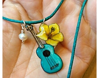 Aqua Ukulele Necklace with Yellow Hibiscus and Pearl Necklace