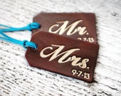 Personalized Luggage Tags SET OF TWO, Year Three Leather Anniversary Gift, Mr and Mrs Luggage Tags, His and Hers Couples Wedding Gift Tag