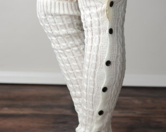 FREE SHIPPING! White Leg Warmers, Leg Warmers, Cable Knit Leg Warmers, Button Side Leg Warmers, Button Leg Warmers, Boot Socks