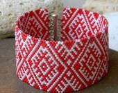 Red and White Peyote Cuff With Ukrainian Traditional Pattern - wide beaded cuff, beadwork jewelry, beadwoven bracelet, ethnic