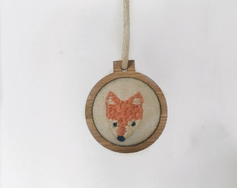 Fox Mini Embroidered Hoop Necklace