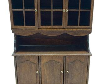 Dollhouse,Furniture, China Hutch, Cabinet, Buffet, Wood, Folk, Handmade, Miniature, 1:12 Scale, 1970's
