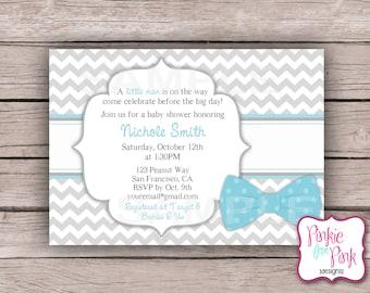 Personalized Baby Boy Shower Invitation- Little Man, Bow tie- Digital File Download- Birthday, Bridal, Wedding, Shower