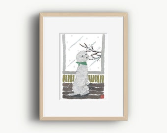 White Poodle, Poodle Art Work, French Poodle, Poodle Gifts, Poodle Print, Ready to Frame