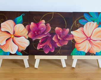 ORIGINAL Painting- Floral Triptych on Wood Panels