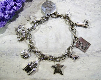 Mixed charm dreamer bracelet - metal charm bracelet - charm jewelry - live laugh love - reach for the stars - elephant - castle - star dream
