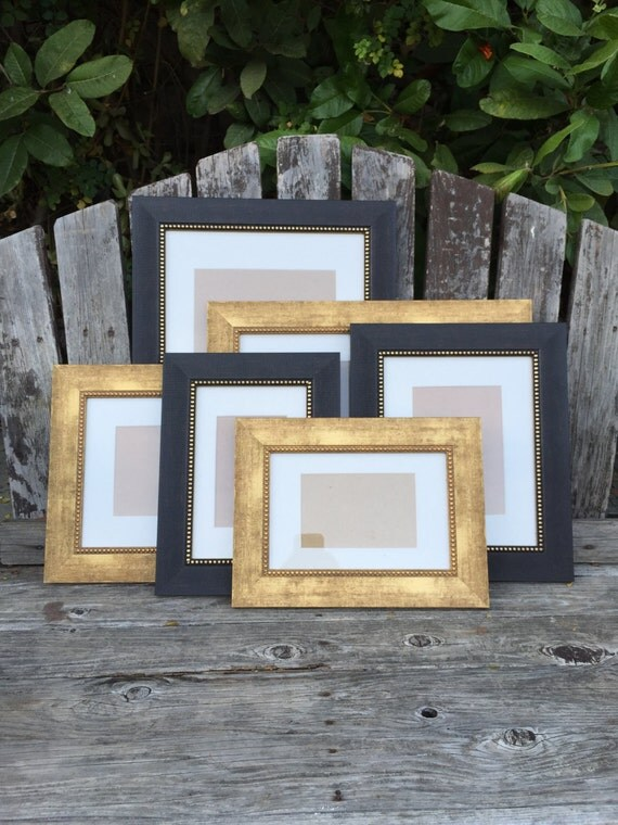 wall gallery set black gold picture frame set by thepaintedldy. Black Bedroom Furniture Sets. Home Design Ideas