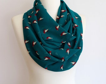 Birds Pattern on Teal Infinity scarf, Circle scarf, Loop scarf, Mothers Day Gift Ideas For Her Women Fashion Accessories