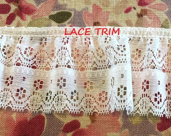 2 YARDS, WHITE 2-3/8 Inch, Ruffle, Lace Eyelet Sewing Trim, Flowers, Straight Edge, L252