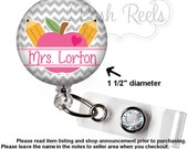 Retractable Badge Holder - Teacher Badge Reel - Apple Badge Holder - Teacher Lanyard - Choice of Badge Reel, Carabiner or Lanyard - 1200