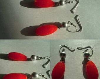 Tangerine Orange Tango Jade Teardrop Gemstones with Gray Swarovski Pearl Dangle Earrings