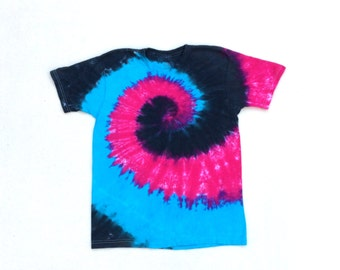 SALE! Child XLarge Blue, Pink, and Black Spiral Tie Dye Shirt