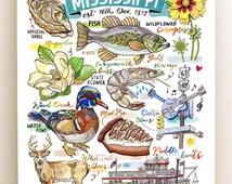 Mississippi Print, State symbols, illustration, home decor, The Magnolia State.