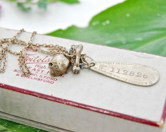VINTAGE Silver CHARMS Revamped Necklace - a Skull, Bone, Number Tag