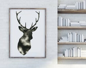 Watercolor Deer Print Modern Deer Print Abstract Woodland Art Black and White Art Prints Minimal Wall Decor Large Poster Print Antler Art