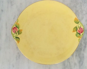 Yellow Majolica Plate, Royal Grimwades Plate, Made in England, Yellow Pink Plate, Vintage Cake Plate, Vintage English Porcelain