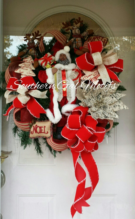 Traditional Burlap Black Santa Wreath Christmas Wreaths