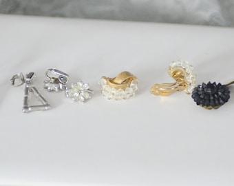 Vintage Clip on Earrings (4 pairs)